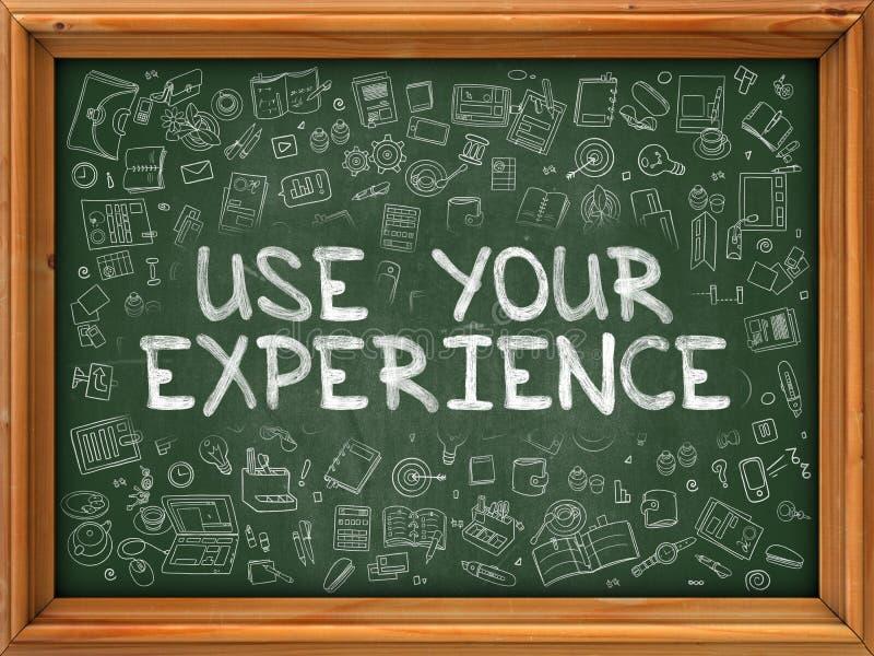 Hand Getrokken Gebruik Uw Ervaring op Groen Bord vector illustratie
