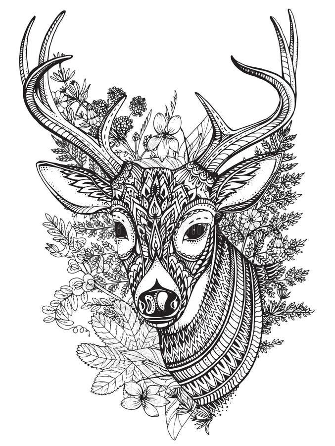 Hand getrokken gehoornde herten met hoog detailsornament royalty-vrije illustratie