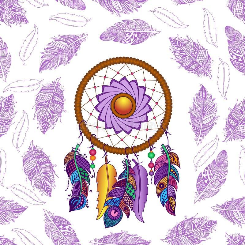 Hand getrokken gekleurd dreamcatcher naadloos patroon royalty-vrije illustratie