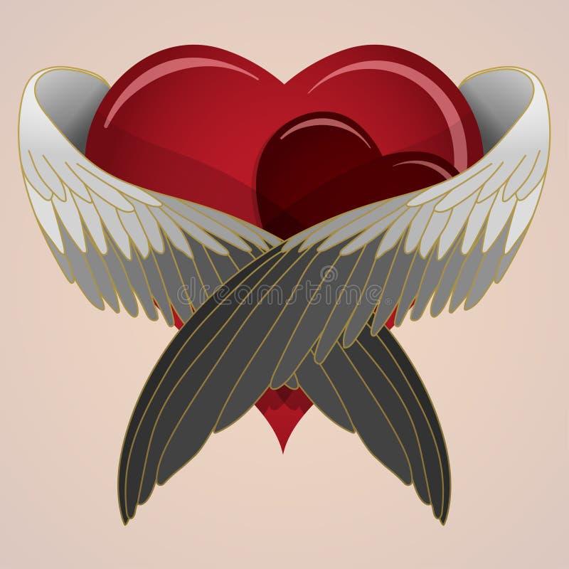 Hand getrokken gekleurd hart met vleugels stock afbeeldingen