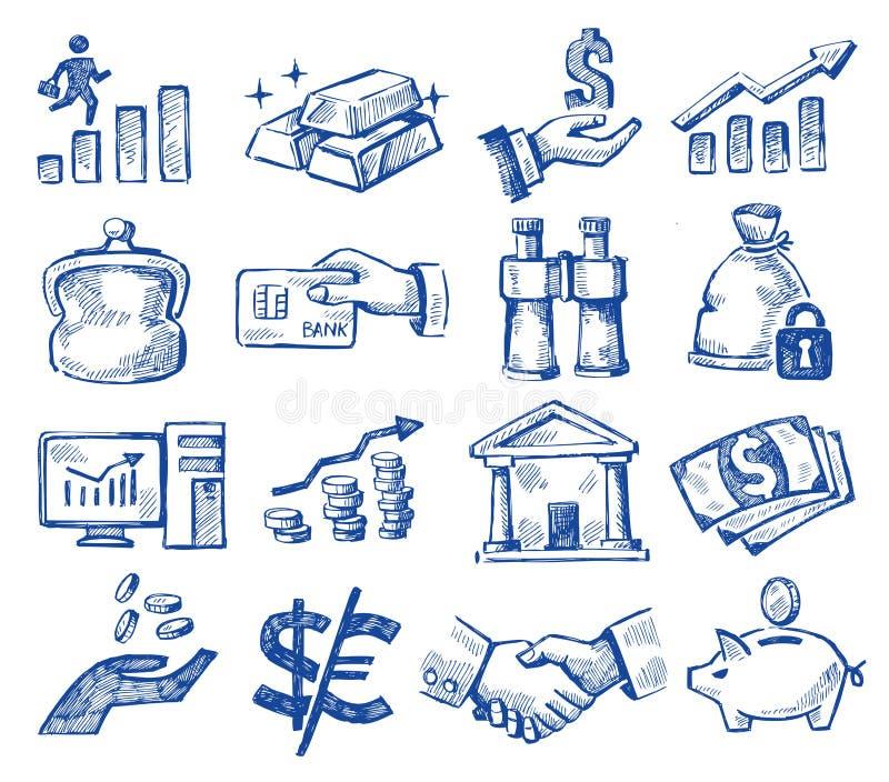 Hand getrokken geld en zaken stock illustratie