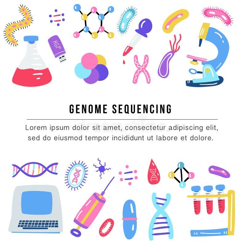 Hand getrokken genoom die concept rangschikken De menselijke DNA-symbolen van de onderzoektechnologie vector illustratie
