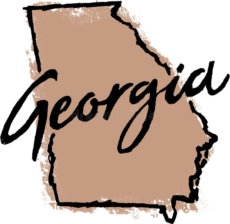 Hand Getrokken Georgia State Sketch stock illustratie