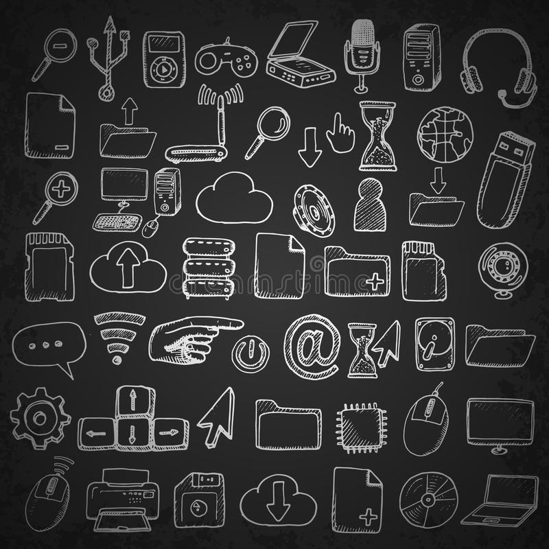 Hand getrokken geplaatste computerpictogrammen stock illustratie