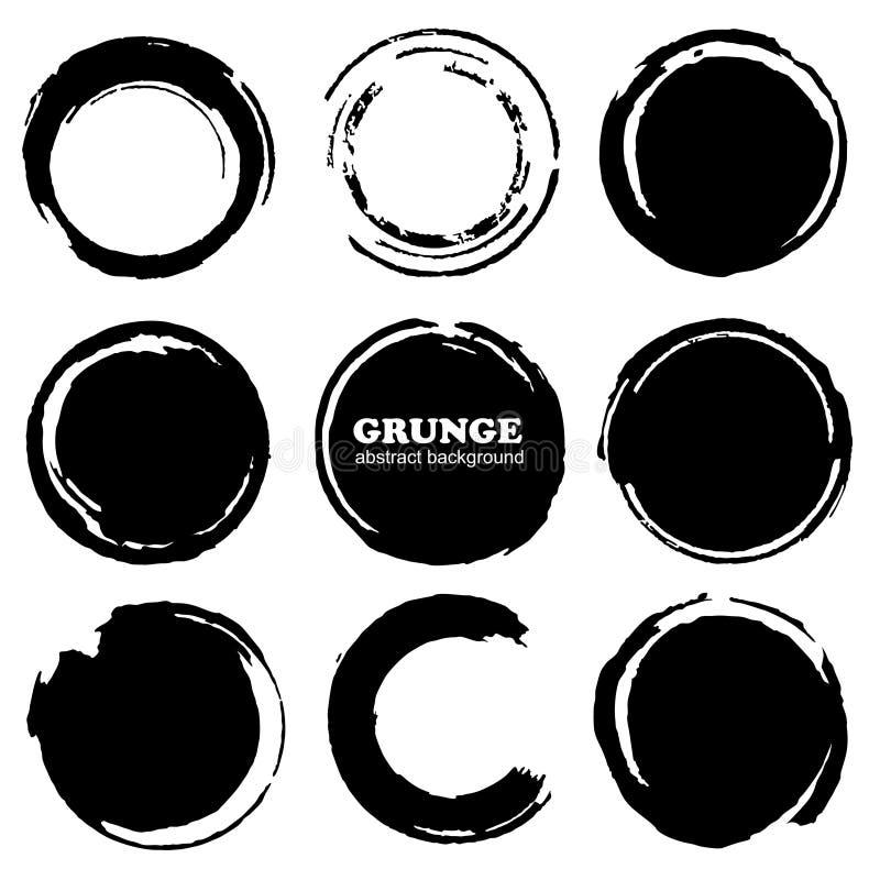 Hand getrokken geplaatste inkt grunge cirkels vector illustratie