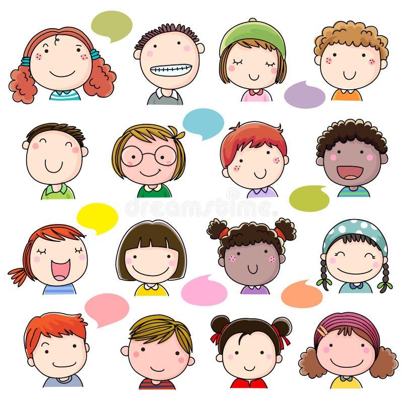 Hand getrokken geplaatste kinderengezichten