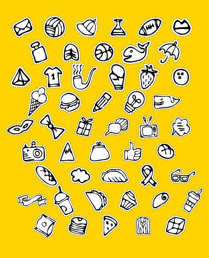 Hand getrokken geplaatste pictogrammen en elementenpatroon Digitale illustratie, de elementen van bakkerijkrabbels, vakantie naad royalty-vrije illustratie