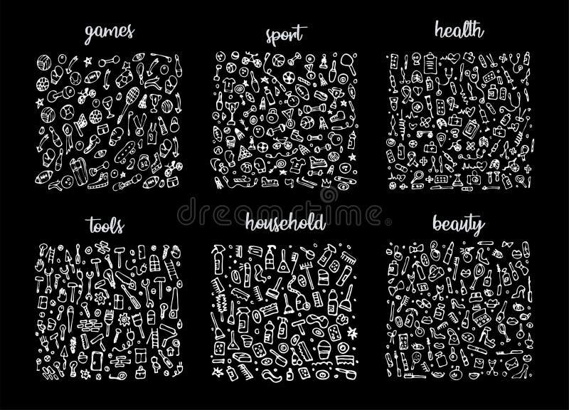 Hand getrokken geplaatste pictogrammen en elementenpatroon Digitale illustratie, de elementen van spelenkrabbels, sporten naadloz stock illustratie