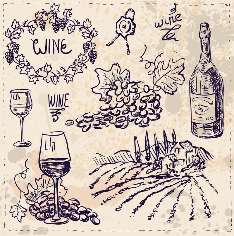 Hand getrokken geplaatste vector - wijn en wijn het maken stock illustratie