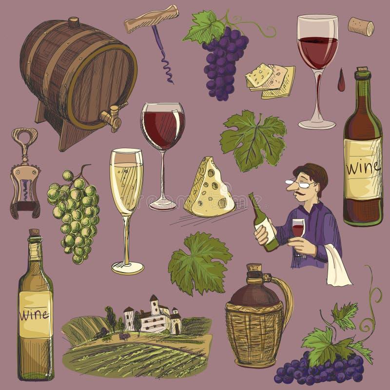 Hand getrokken geplaatste vector - wijn en wijnbereiding vector illustratie