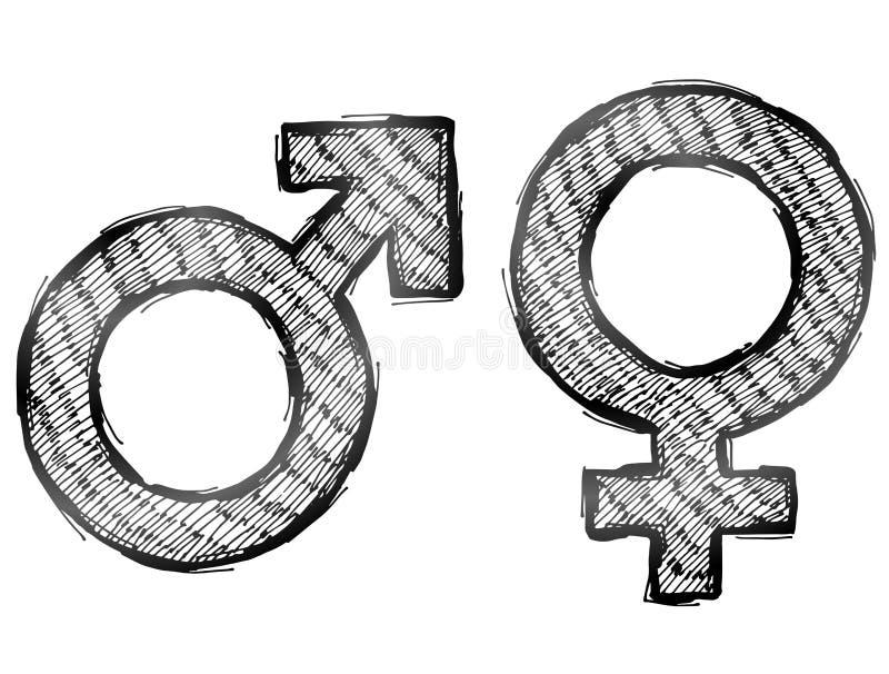 Hand getrokken geslachtssymbolen met het lichte uitbroeden royalty-vrije illustratie