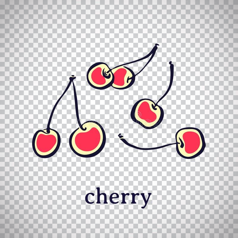 Hand getrokken gestileerde kers Vectorfruit dat op transparante achtergrond wordt geïsoleerd Grafische illustratie voor embleem  stock illustratie
