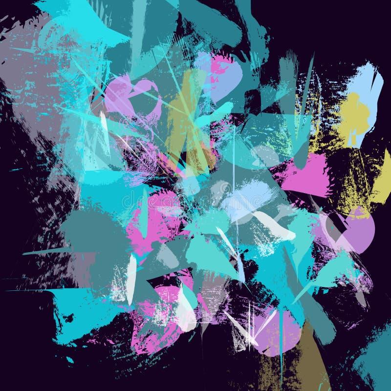 Hand getrokken geweven blauwe stroken, slagen, plonsen en vlekken vector illustratie