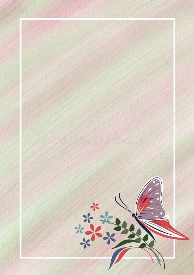 Hand getrokken geweven bloemenachtergrond Pastelkleurkaart met vlinder, bloemen Malplaatje voor brief of groetkaart royalty-vrije illustratie