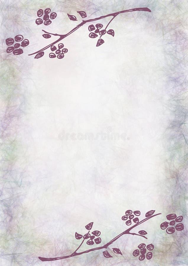 Hand getrokken geweven bloemenachtergrond Uitstekende kaart met bloemen en bladeren Malplaatje voor brief of groetkaart royalty-vrije illustratie