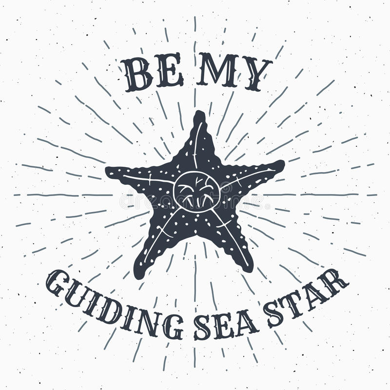 Hand getrokken geweven grunge uitstekend etiket, retro kenteken of T-shirttypografieontwerp met zeester en zonnestralen vectorill vector illustratie