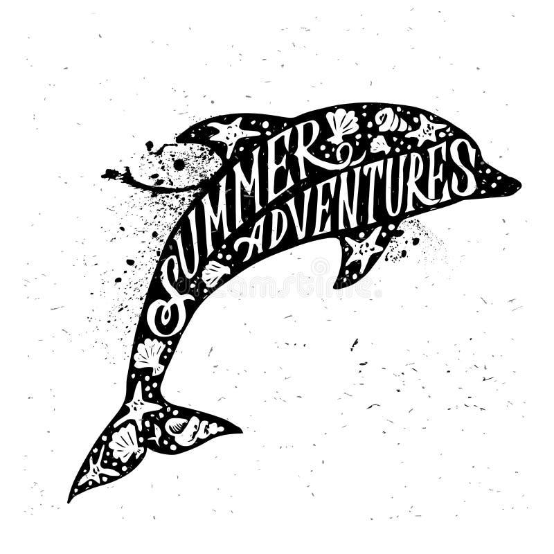 Hand getrokken geweven uitstekend etiket, retro kenteken met dolfijn vectorillustratie stock illustratie
