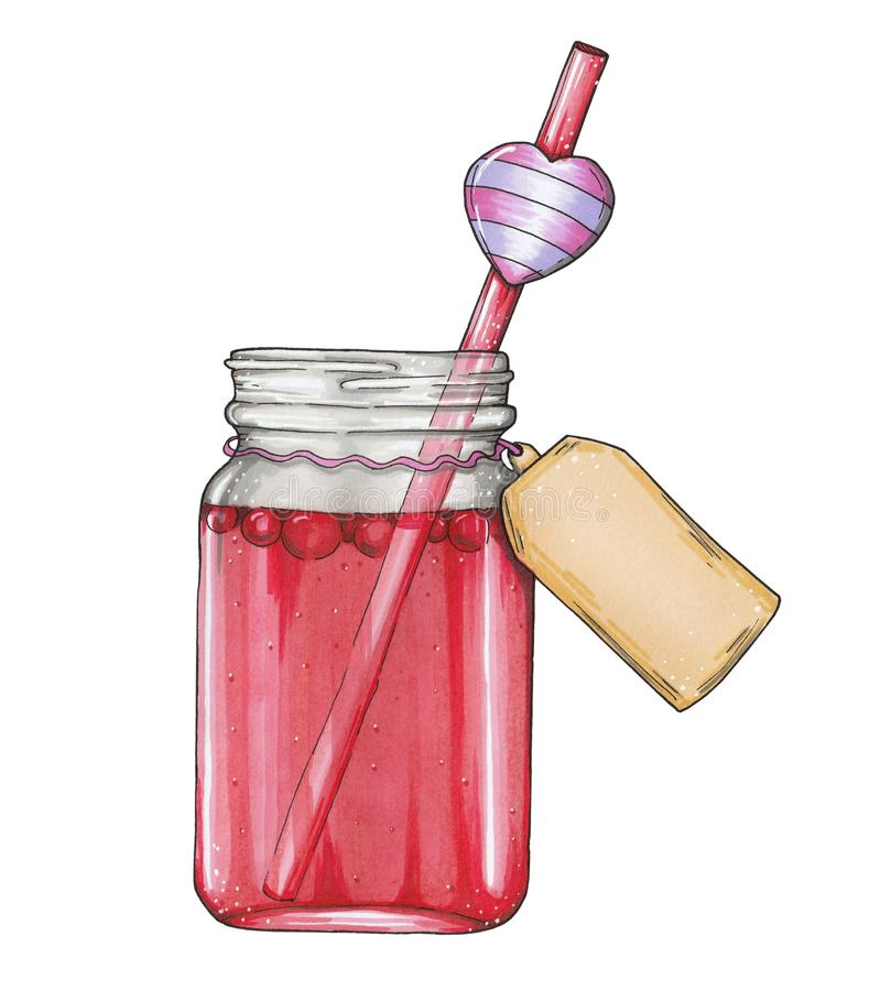 Hand getrokken glaskruik met rode fruitdrank stock illustratie