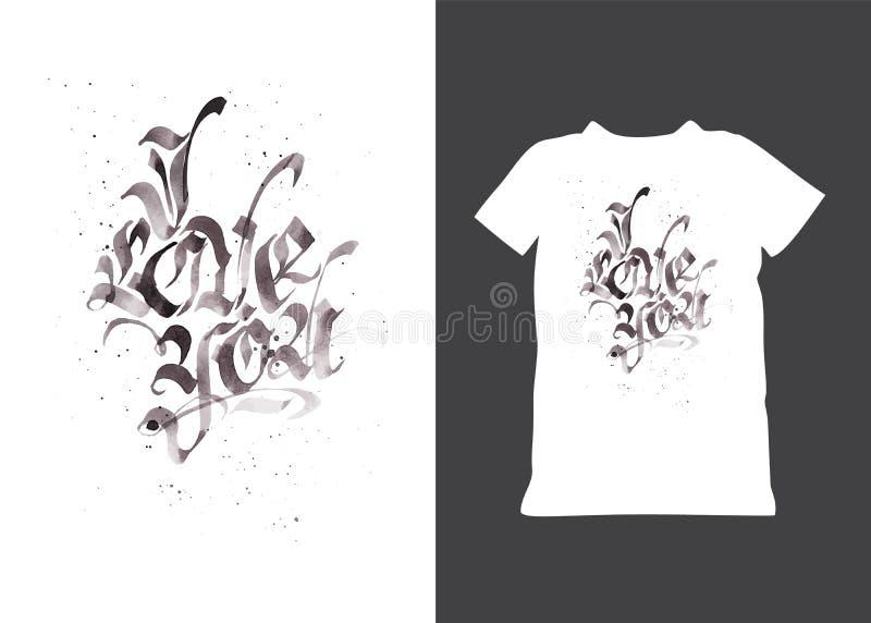 Hand getrokken gotisch citaat I Liefde u Vuile grungevalentijnskaarten geïsoleerde tekst typografieembleem voor vakantiet-shirt,  royalty-vrije illustratie