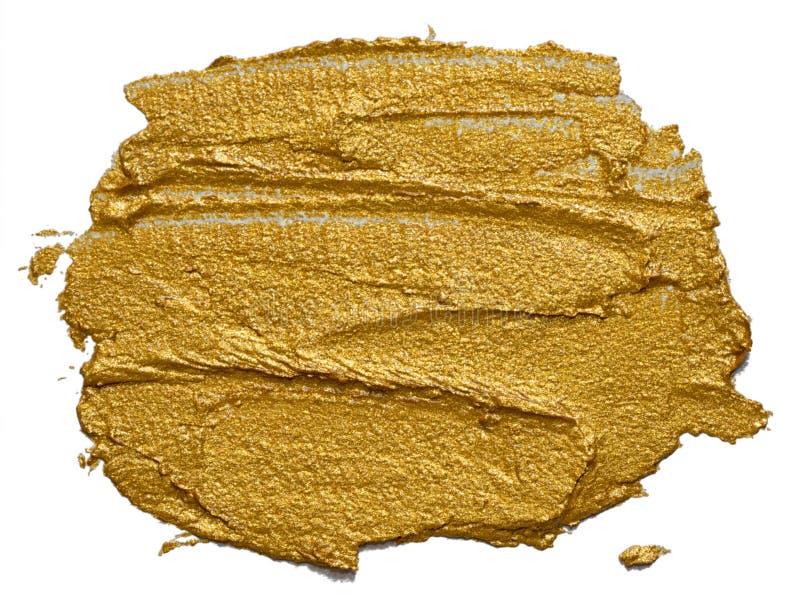 Hand getrokken gouden geïsoleerde olieverfkwaststreek royalty-vrije stock foto's