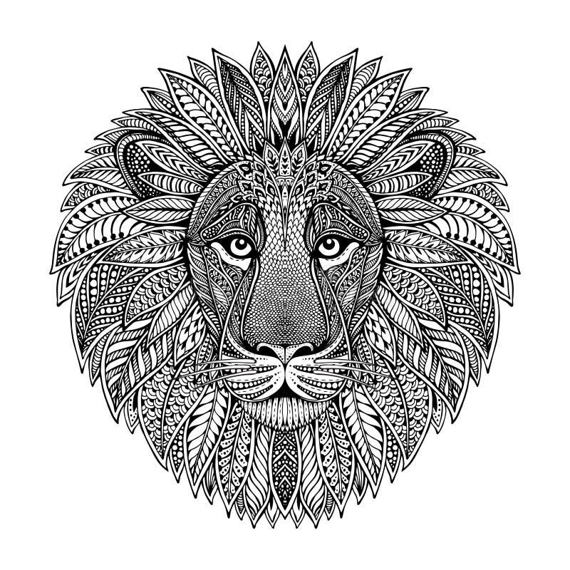 Hand getrokken grafisch overladen hoofd van leeuw stock illustratie