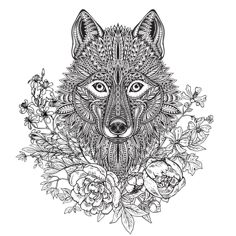 Hand getrokken grafisch overladen hoofd van wolf met etnische bloemenkrabbel vector illustratie