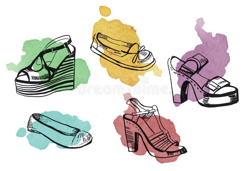 Hand getrokken grafische illustratie van schoenen en sandals met kleurrijke waterverfvlekken stock illustratie