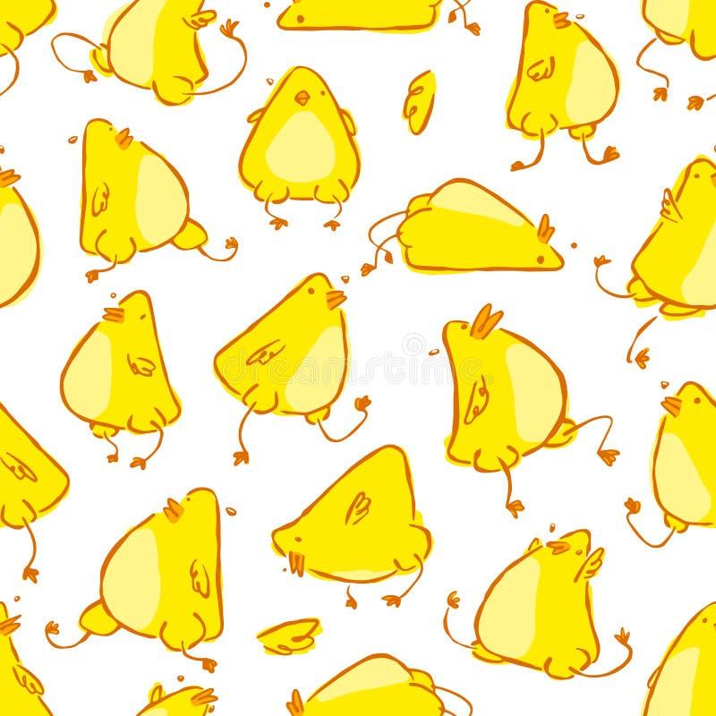 Hand getrokken grappig vector het karakter naadloos patroon van de babykip stock illustratie
