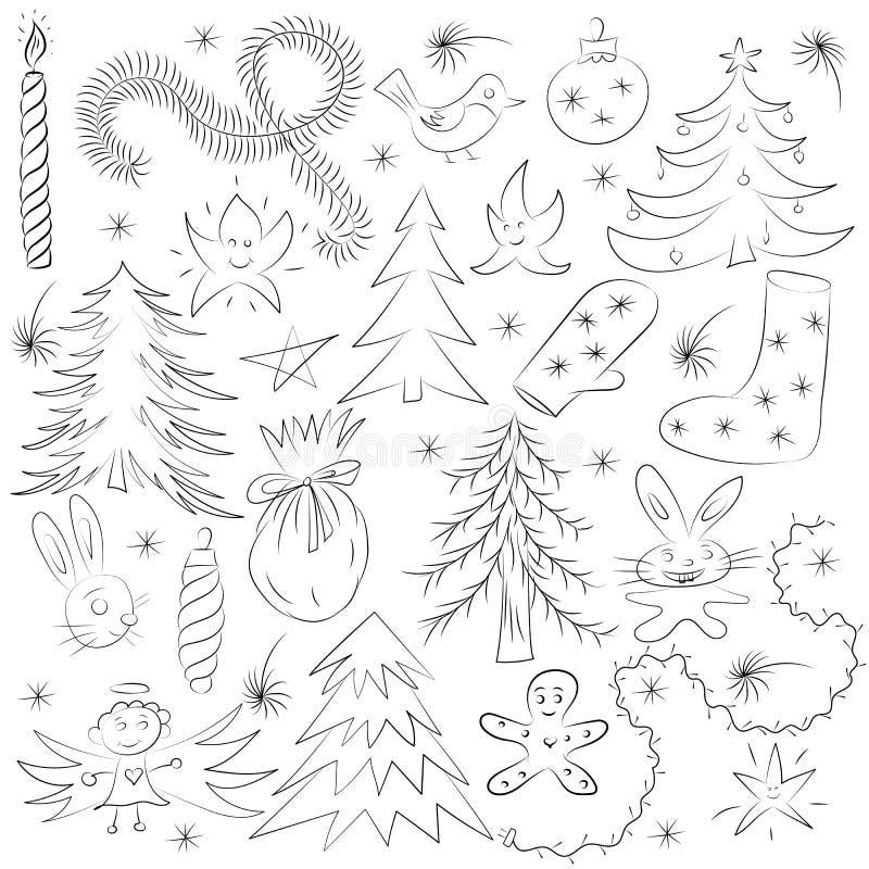 Hand Getrokken Grappige de Schetsreeks van Krabbelkerstmis Kinderentekeningen van Sparren, Gift, Kaars, Speelgoed, Angel Stars en vector illustratie