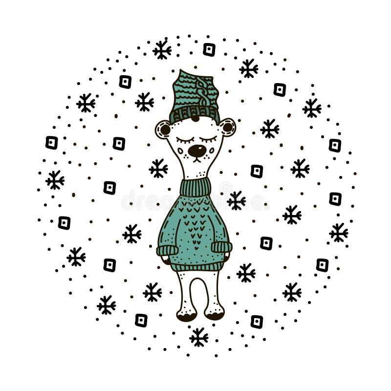 Hand getrokken grappige, leuke ijsbeer in Skandinavische, Noordse stijl Kinderachtige druk voor jonge geitjeskleding, affiche, pr royalty-vrije illustratie