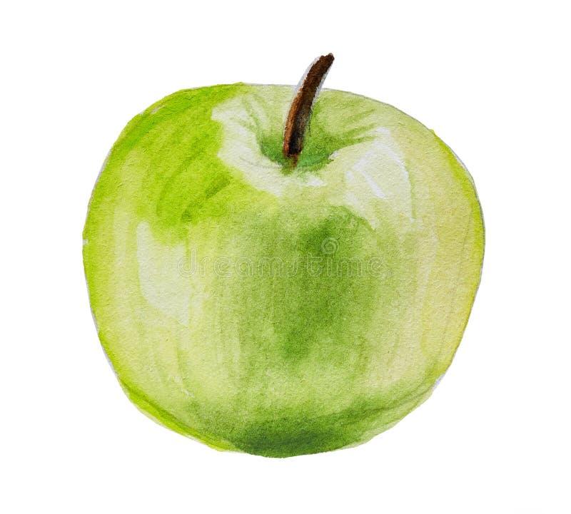 Hand getrokken groene die appel op wit wordt geïsoleerd royalty-vrije stock afbeelding