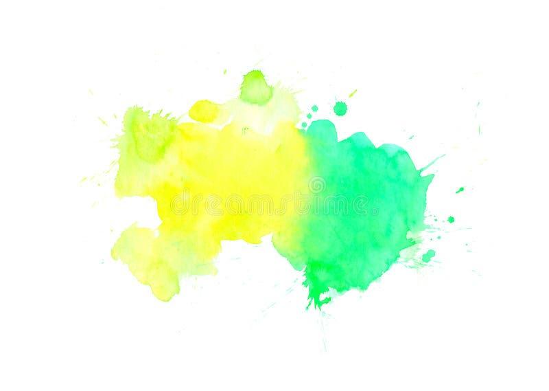 Hand getrokken groene en gele waterverfbanner De verf abstracte textuur van de Grungeborstel Kan voor krantekop, embleem en verko stock foto