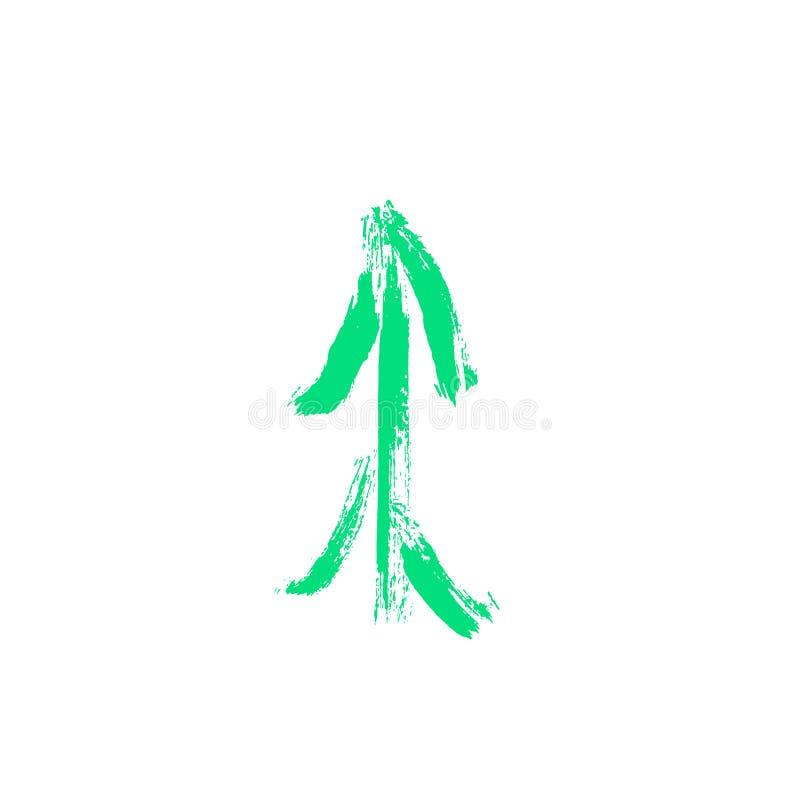 Hand getrokken groene inktspar Vector illustratie op witte achtergrond De decoratie van Kerstmis vector illustratie