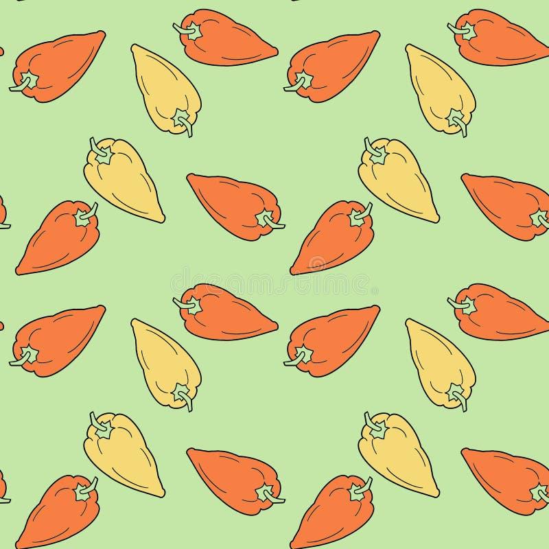 Hand getrokken groene paprika's naadloos patroon op groene achtergrond stock illustratie