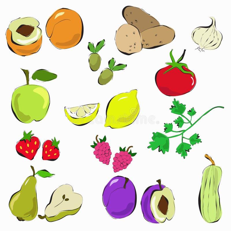 Hand getrokken groenten en fruit royalty-vrije illustratie