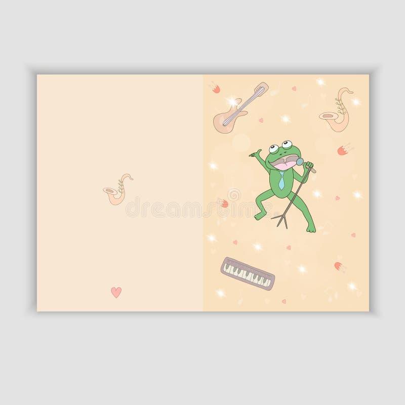 Hand Getrokken groetkaart met muzikale instrumenten en een het zingen kikker Zoete gelukwenskaart binnen stock illustratie