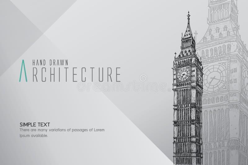 Hand getrokken Groot Ben Tower Londen royalty-vrije stock afbeelding