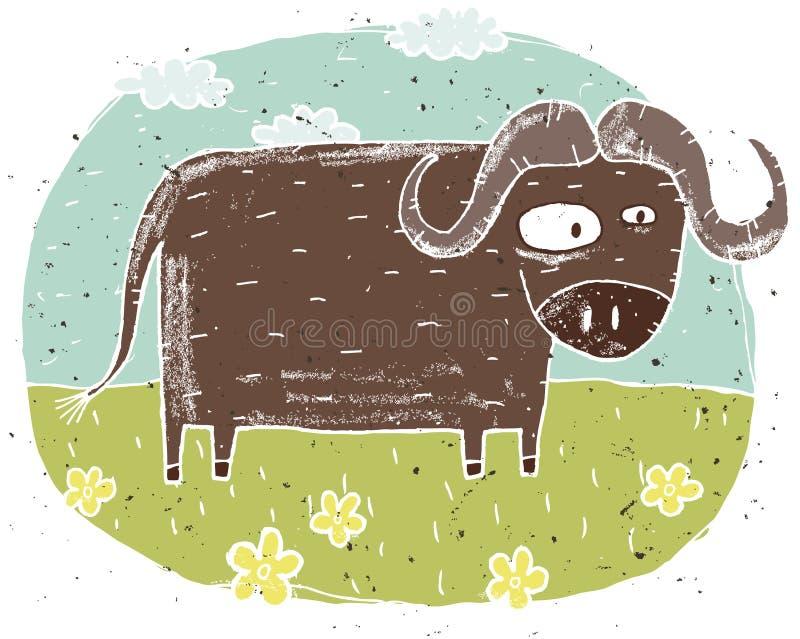 Hand getrokken grunge illustratie van leuke buffels op achtergrondverstand vector illustratie