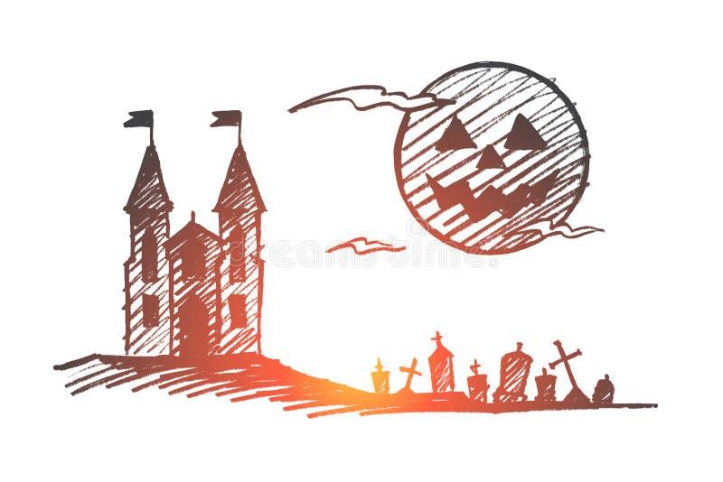 Download Hand Getrokken Halloween-kasteel, Begraafplaats, Volle Maan Vector Illustratie - Illustratie bestaande uit ontwerp, verschrikking: 114225243