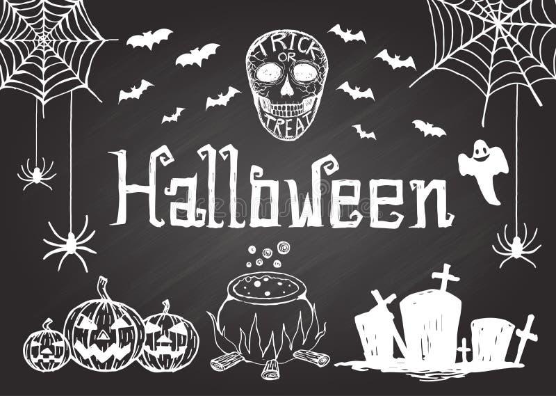 Hand getrokken Halloween op bord stock illustratie