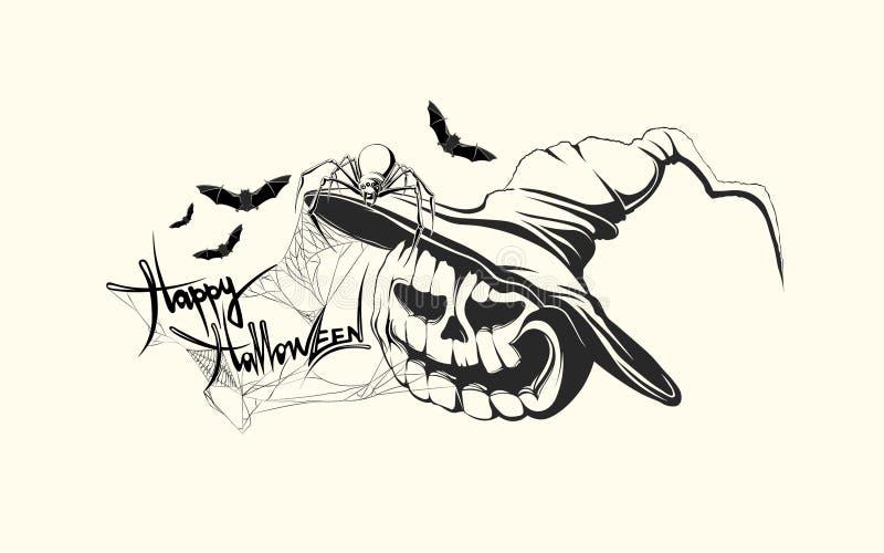 Hand Getrokken Halloween-pompoen stock illustratie