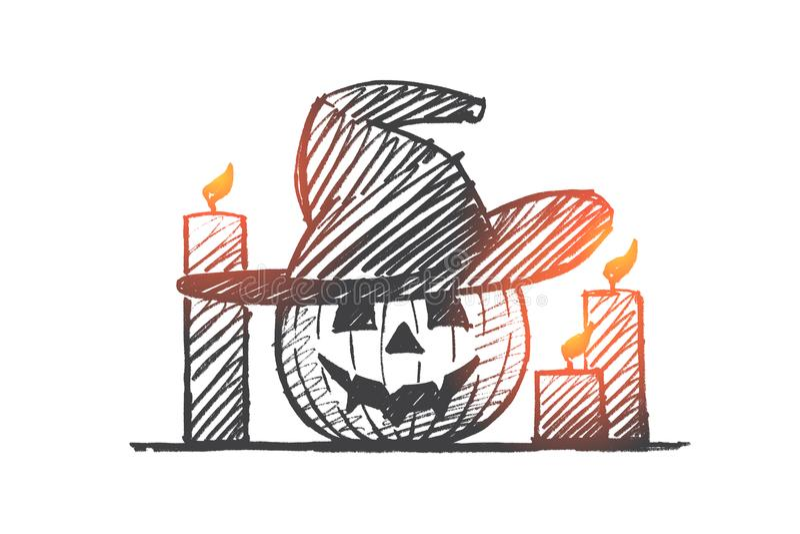 Download Hand Getrokken Halloween-pompoengezicht En Kaarsen Vector Illustratie - Illustratie bestaande uit leuk, element: 114225352