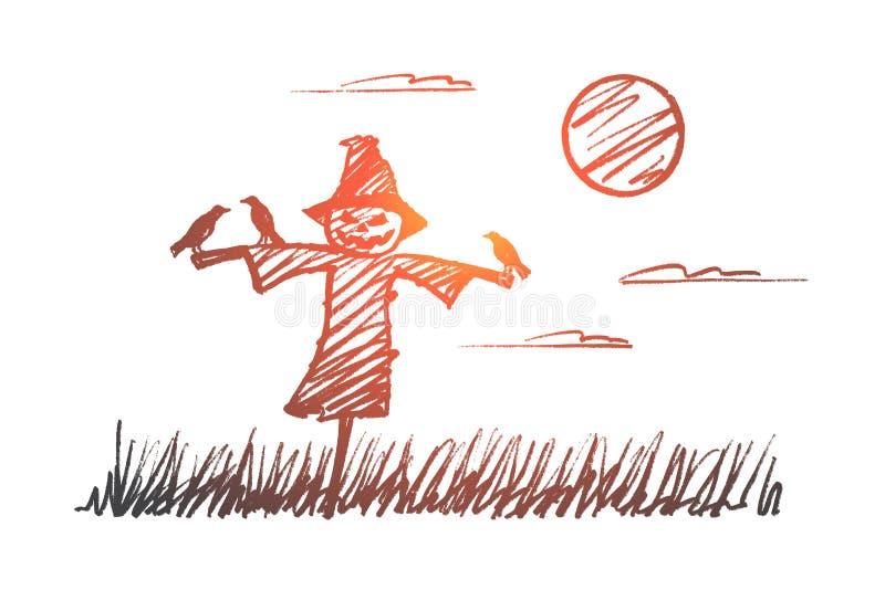 Download Hand Getrokken Halloween-vogelverschrikker Met Kraaien Bij Nacht Vector Illustratie - Illustratie bestaande uit hand, lettering: 114225376