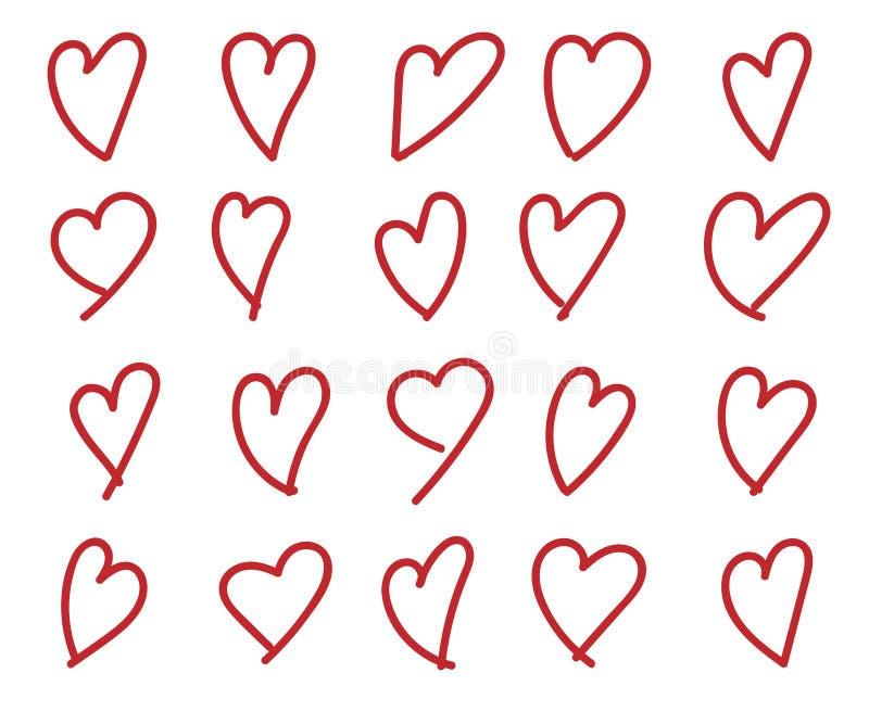 Hand getrokken hart stock illustratie