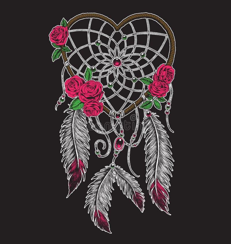 Hand getrokken hart gevormde droomvanger in volledige kleur stock illustratie