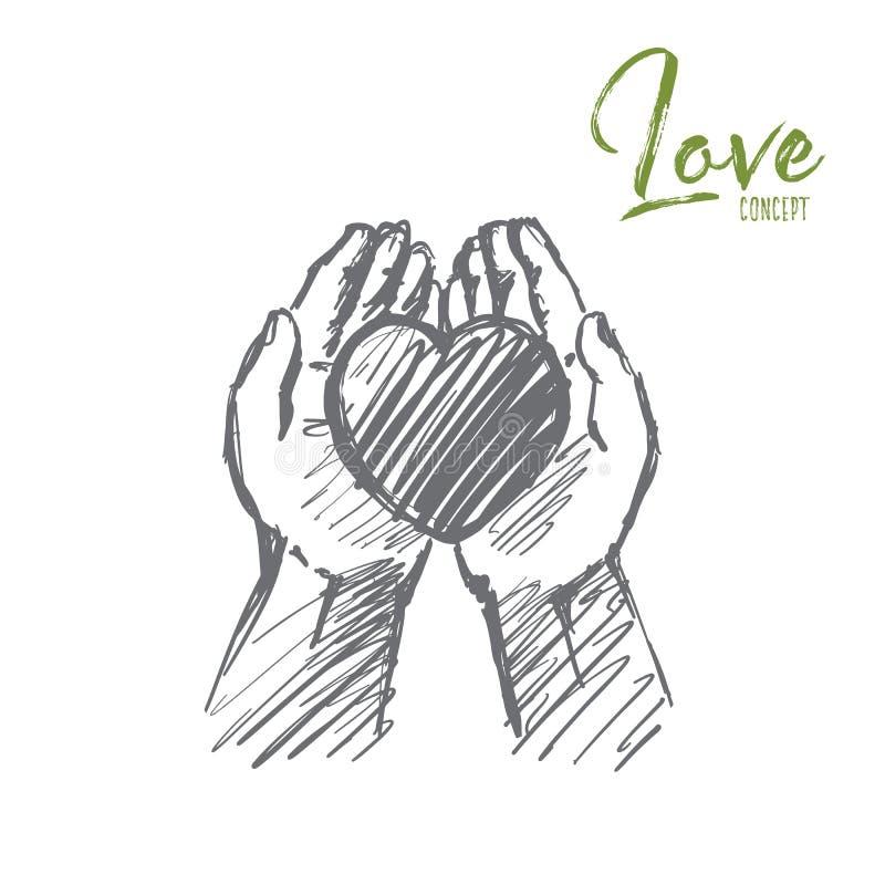 Hand getrokken hart in menselijke palmen met het van letters voorzien vector illustratie