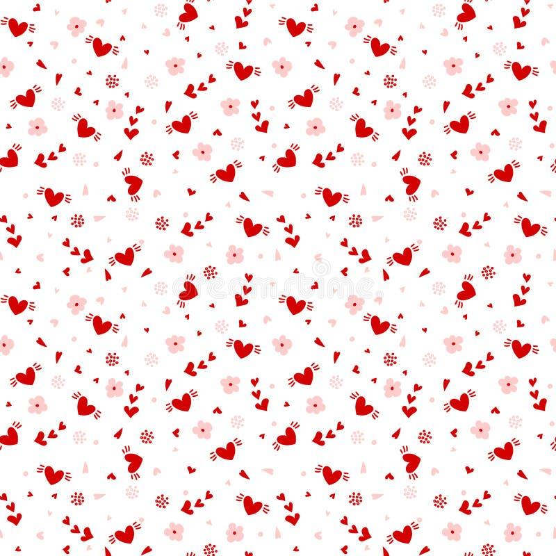 Hand getrokken hart naadloos patroon stock illustratie
