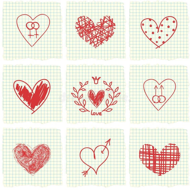 Hand getrokken harten vector illustratie