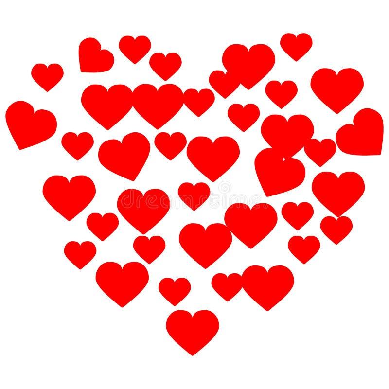 Hand getrokken harten De rode liefde van hartvalentine voor ontwerp royalty-vrije illustratie