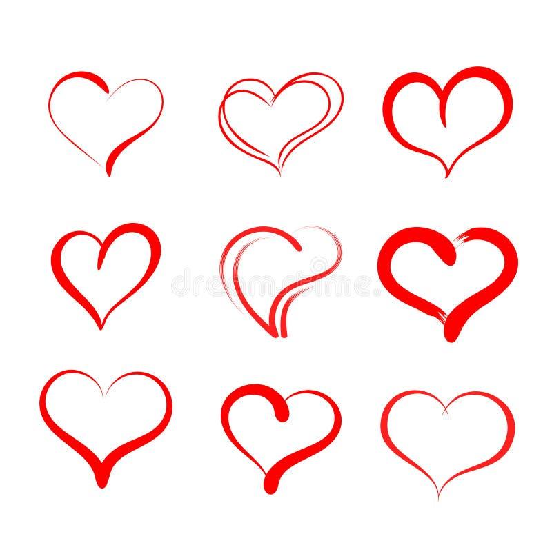 Hand getrokken harten Reeks vectorpictogrammen van grungeharten Ontwerpelementen voor de dag van Valentine ` s royalty-vrije illustratie